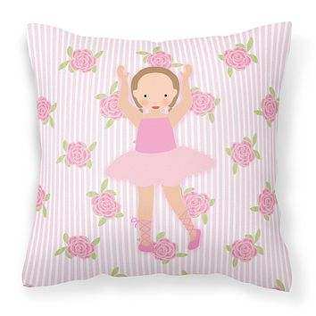 Ballerina Brown Hair Ponytails Fabric Decorative Pillow BB5189PW1414