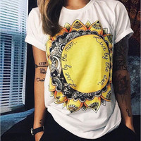 White Sunflower and Letter Print T-Shirt