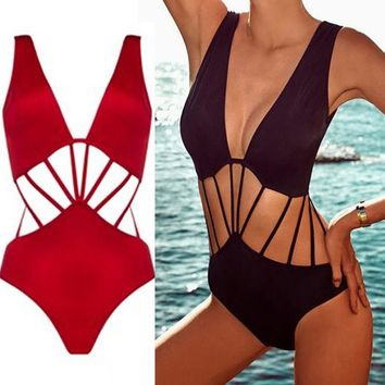 One Piece Bikini Swimsuit Rope Trikinis For Women Biquini Black Feminino Funny Bathing Suit Plavky Damy Ladies Surf Swimwear