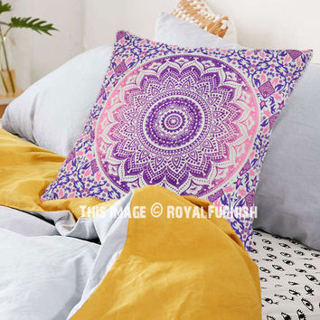 Purple and Pink Ombre Mandala Throw Pillow Cover on RoyalFurnish.com