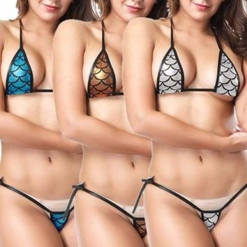 Eye-catching Shiny Bikini Micro Halter Top + G-String Set Swimsuit thong bikini