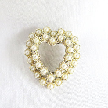 Vintage Double Heart Faux Pearls Brooch, Silver Tone Hat Pin, Jacket Pin