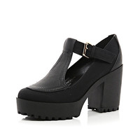 River Island Womens Black chunky sole buckle shoes