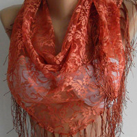 Copper Color - lace and Elegance Shawl - Scarf -- with Lace Edge.