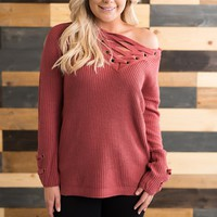 New Rules Lace Up Sweater (Rose)