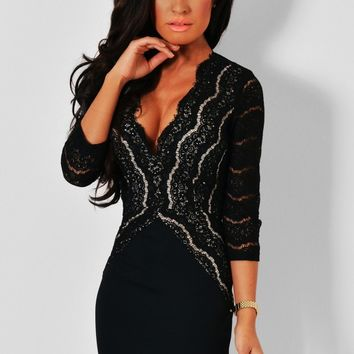 Lorelai Black Lace Detail Mini Dress | Pink Boutique