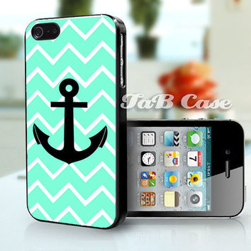 Mint Chevron and Anchor iPhone Case. iPhone 4 Case - iPhone 5 Case. Nautical Theme.