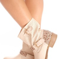 BEIGE FAUX LEATHER SIDE BUCKLE RHINESTONE ACCENT COWBOY BOOTIE BOOT