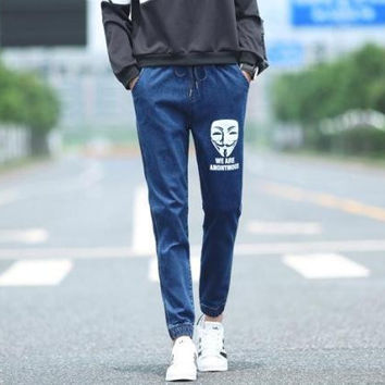 Korean Winter Men Slim Strong Character Face Mask Print Pants Jeans [6528953923]