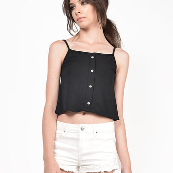 Button Front Cropped Cami