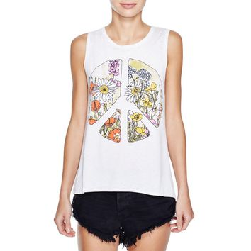 Chaser Womens Peace Sign Flounce Graphic Tank Top