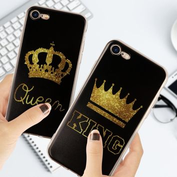 Fashion King Queen Couple Case For Samsung Galaxy S3 S5 S6 S7 Edge S8 S9 Plus A3 A5 A8 J1 J2 J3 J5 J7 2015 2016 2017 2018 For iphone 5 5s SE 5C 6 6s Plus 7 7 Plus 8 8 Plus X Phone Back cover For Huawei P8 P9 P10 Lite mini Mate 10