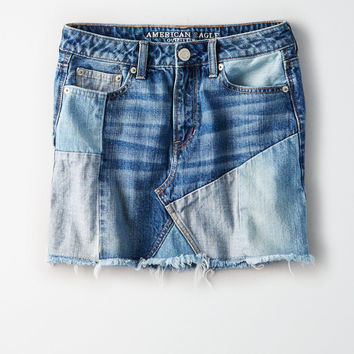 High-Waisted Festival Denim Skirt, Indigo Unicorn