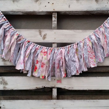 Vintage Inspired Floral Rag Garland, Fabric Banner, Baby Shower Decor, Photo Prop, Backdrop Garland, Rustic Wedding Decor, Home Decor