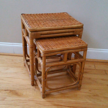 Vintage Bamboo Rattan Wicker Style Nesting Tables Plant Stands Set of 2