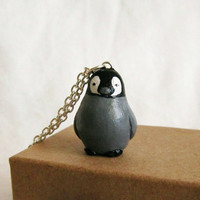 Baby Penguin Necklace , Totem Jewelry With a Message