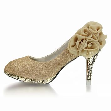 Women Wedding Shoes Red Bottoms Platform Wedge High Heels Sexy Woman Pumps Ladies Pointed Toe Bridal Shoes