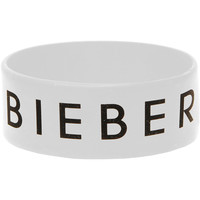 Justin Bieber Men's I Heart Rubber Bracelet White