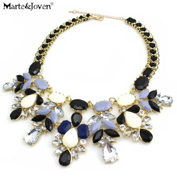 [Marte&Joven] New Fashion Jewelry Water Drop Bib Shourouk Style Accessories Rope Chain Statement Choker Necklace For Woman