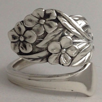 "Size 6 Vintage ""Forget Me Not"" Sterling Silver Spoon Ring"