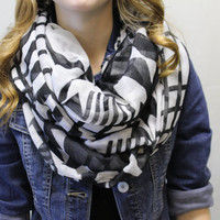 Light summer, aztec black and white scarf, basic, plain scarf, infinity, Circle, loop scarf, circle scarf, fashion infinity scarf,