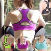Women Sport Suit Fitness Sportswear Stretch Exercise Yoga  Top Women Tank Vest _ 2167