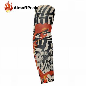 Sunscreen Arm Sleeves Breathable Skull Skeleton Cuff Sleeves Cycling Hiking Running Arm Stockings UV Protective Arm Warmers