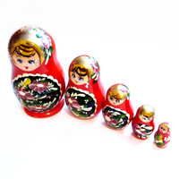 Vintage Nesting Dolls, Tole Painted Russian Wood Figurines