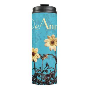 Yellow Dahlias Aqua Teal Monogram Thermal Tumbler