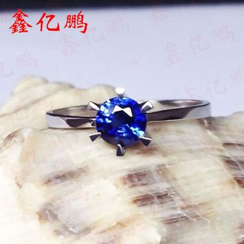 18 k gold inlaid natural female royal blue sapphire ring in Sri Lanka Fashion contracted fine jewelry
