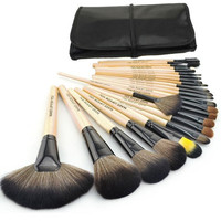 24pcs/lot Professional Makeup Brush Set Make up Sets Tools with leather case  - Wood (Color: Black) = 1932459716