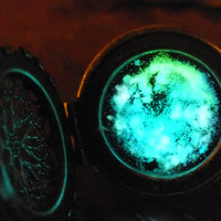 Silver Plated Glow In The Dark Celtic Galaxy Locket Necklace