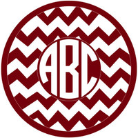 Chevron Circle Monogram Decal with Circle Font - Multiple Colors