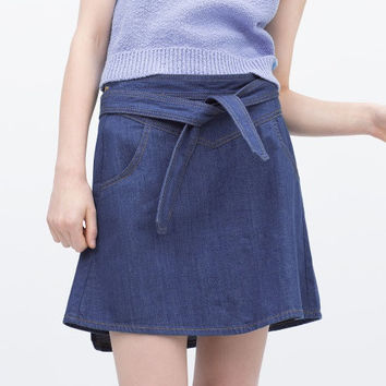 Blue Denim Sashes Mini Skirt With Pocket