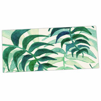"Viviana Gonzalez ""Botanical Vibes"" Green Beige Watercolor Desk Mat"