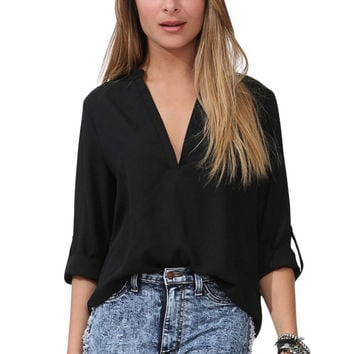 Black V Neck Loose Fitting Chiffon Blouse