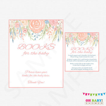 Book Request Baby Shower Floral Bring a book instead of a card Bring a book baby shower insert Girl Flowers Boho Pink Chic Printable SPFL