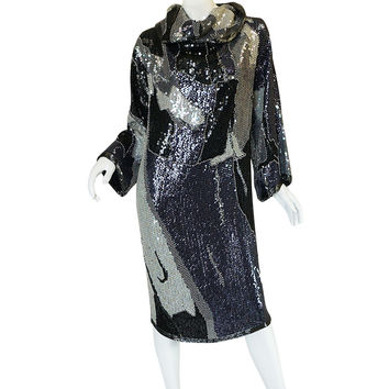 1970s Silver and Pewter Sequin Halston Tunic Dress