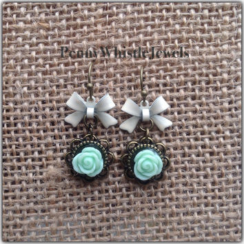 Mint Earrings, Mint Rose Earrings, Resin Rose Earrings, Rose Earrings, Bow Earrings, Dangle Earrings