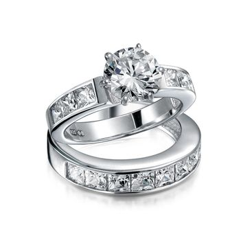 3 CT Solitaire AAA CZ Band Engagement Wedding Ring Set Sterling Silver