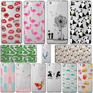 Mickey&minnie Kiss Lips Pineapple Unicorn Flamingo Cactus Panda Clear Soft Silicone Cases Cover For Huawei Ascend P8 Lite/mini