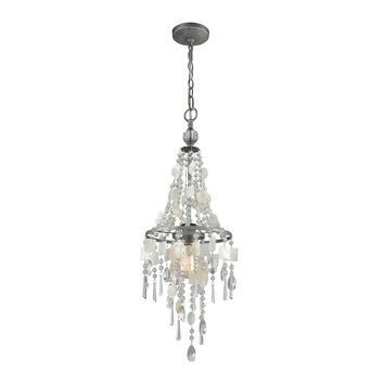15937/1 Alexandra 1 Light Chandelier In Weathered Zinc With Capiz Shells And Clear Crystal