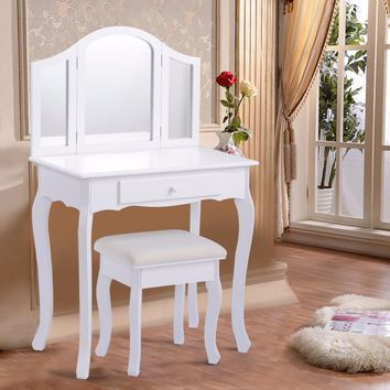 White Makeup Vanity Table and Stool Set Modern Tri Folding Mirror