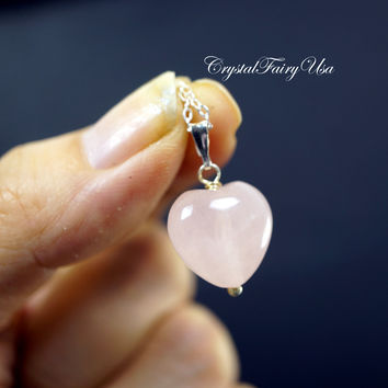 Rose Quartz Heart Necklace - Sterling Silver Rose Quartz Necklace - Tiny Rose Quartz Pendant - Heart Chakra Healing Necklace