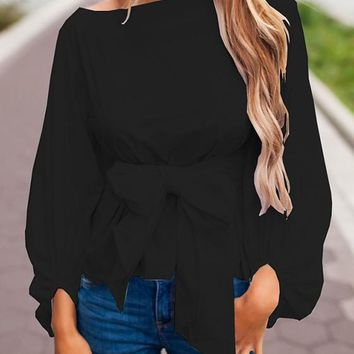 Black Bow Boat Neck Long Sleeve Fashion Blouse