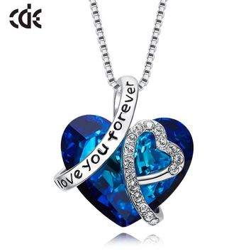 CDE S925 Sterling Silver Luxury Crystals from Swarovski Heart of the sea Pendant Necklace Romantic Fashion Christmas Gifts