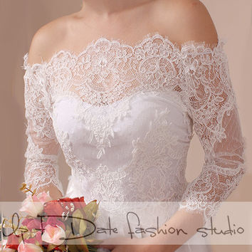 Bridal  lace bolero   Off-Shoulder / French Lace/ wedding jacket/ shrug/  jacket /bridal lace top