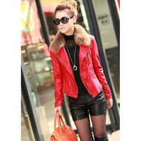 Women's Spliced Doulbe Shoulder Pads Faux Leather Biker Winter Woman Jacket Woman Zipper Exposed Asymmetric Coat