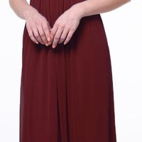 Long Beach Wedding Bridesmaid Dress Burgundy Flowy Chiffon