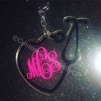 Stethoscope Dr / Nurse / Medical Monogram Keychain - Personalized - Monogram Key Chain - Custom - Nurse - Glitter - Any Color - Monogram